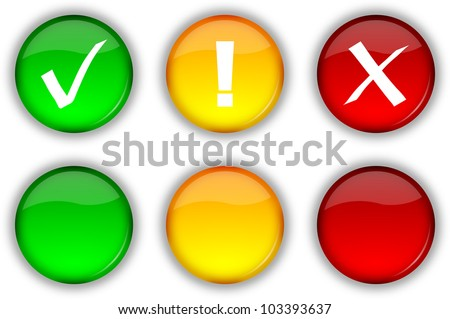 Glossy web security icons and empty buttons set