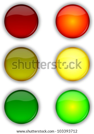 Glossy web security on off traffic lights buttons set