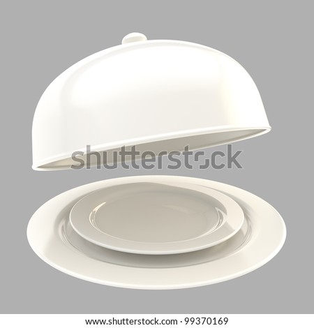 Glossy white ceramic salver with a dish and food cover isolated on grey - stock photo