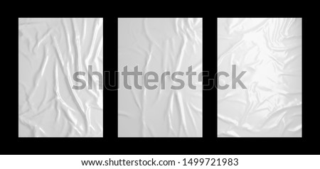 Glossy white wrinkled paste poster template set. Isolated glued paper or fabric mockup.