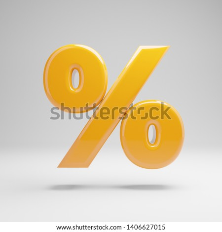 Glossy yellow percent symbol isolated on white background. 3D rendered alphabet. Modern font for banner, poster, cover, logo design template element.