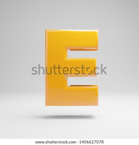 Glossy yellow uppercase letter E isolated on white background. 3D rendered alphabet. Modern font for banner, poster, cover, logo design template element.