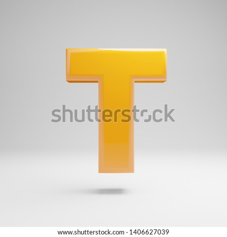Glossy yellow uppercase letter T isolated on white background. 3D rendered alphabet. Modern font for banner, poster, cover, logo design template element.
