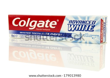 GLOUCESTER, UK - FEBRUARY 24, 2014: Colgate Toothpaste