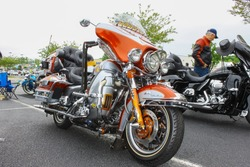 GLOUCESTER, VA - April 30, 2016: A customized Harley Davidson UltraClassic motorcycle at the 2nd Run for the Son Motorcycle show, the Motorcycle show is Sponsored by Jaxwax held each year.