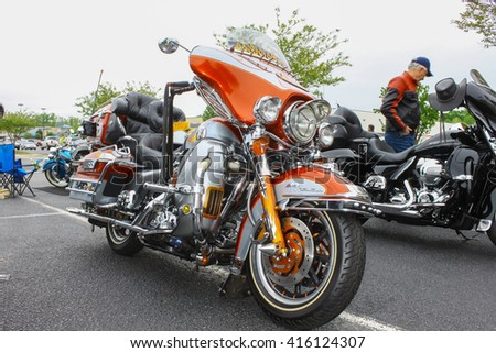 GLOUCESTER, VA - April 30, 2016: A customized Harley Davidson UltraClassic motorcycle at the 2nd Run for the Son Motorcycle show, the Motorcycle show is Sponsored by Jaxwax held each year.\n\n\n