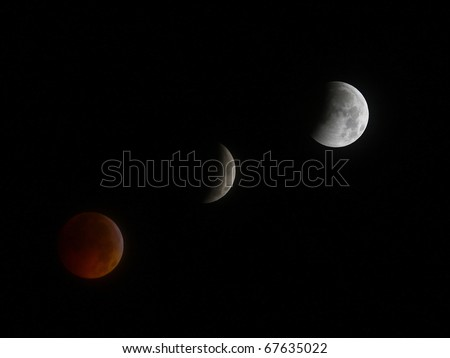 GLOUCESTER VA - DECEMBER 21: A Historic Lunar Eclipse coinciding with the winter solstice seen in the night sky on Dec. 21, 2010 in Gloucester Virginia
