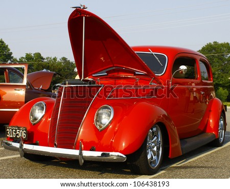 GLOUCESTER, VA- JUNE 29:A 37 Ford at the 13th Annual 2012 MPCC(middle peninsula car club)meeting at the Main St shopping center in Gloucester, Virginia on June 29, 2012. - stock photo