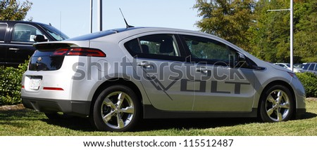 GLOUCESTER, VA- OCTOBER 13:A Chevrolet Volt at the Ken Houtz Chevrolet Buick, Camaro VS Corvette Humane Society car show and food drive in Gloucester Virginia on October 13, 2012