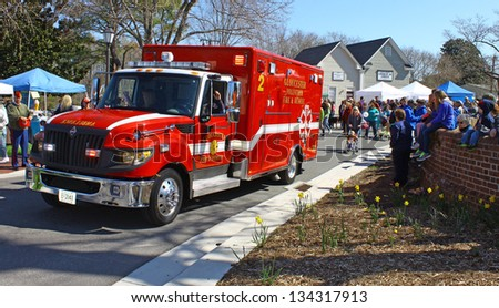GLOUCESTER, VIRGINIA - APRIL 6: Gloucester Vol fire & Rescue in the Daffodil Parade on April 6, 2013 in Gloucester, Virginia. In its 27th year, the parade heralds the arrival of spring.