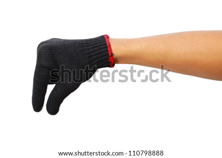 Glove hand of a caucasian male to hold