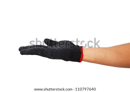 Glove hand symbol on white background.