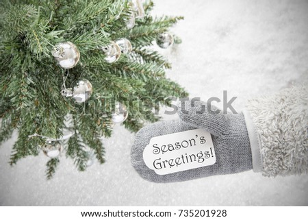Glove With Label With English Text Seasons Greetings. Green Christmas Tree With Silver Balls On Snow In Background. Seasonal Greeting Card With Snowflakes. #735201928