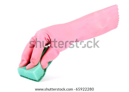 Gloved hand holding a kitchen sponge isolated on a white background