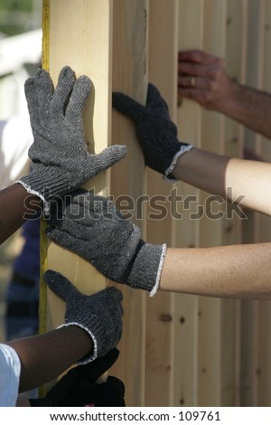 Gloved Hands of Workers