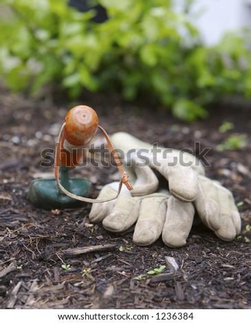 Gloves and Garden Shovel