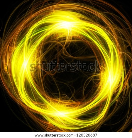 Gloving yellow overlapping rings. Abstract fractal illustration.