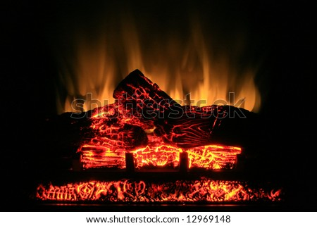 Glow from an electric fireplace.