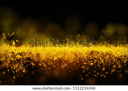 Glow golden particles on black background, Sci-fi background with depth of field, gold energy wave particle element.