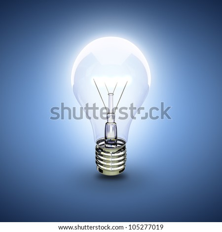 glow light bulb on a blue background