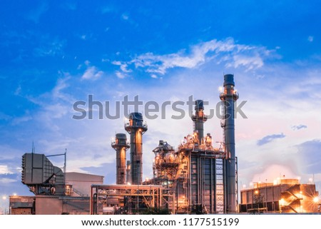 Glow light of petrochemical industry on sunset and Twilight sky ,Power plant,Energy power station area #1177515199