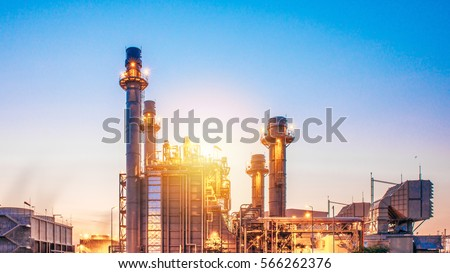 Glow light of petrochemical industry on sunset and Twilight sky ,Power plant,Energy power station area #566262376