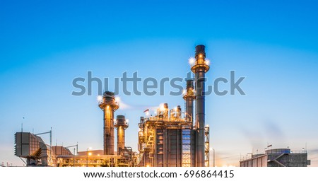 Glow light of petrochemical industry on sunset and Twilight sky ,Power plant,Energy power station area #696864415