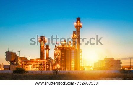 Glow light of petrochemical industry on sunset and Twilight sky ,Power plant,Energy power station area #732609559