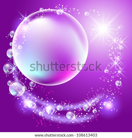 Glowing background with bubbles and stars. Raster version of vector.
