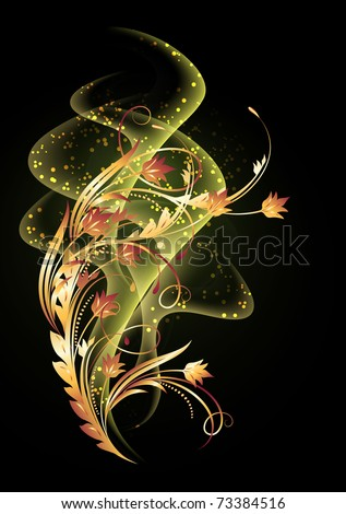 Glowing background with smoke and golden ornament. Raster version