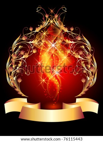 Glowing background with smoke and golden ornament. Raster version of vector.