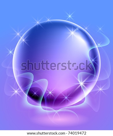 Glowing background with sphere and stars. Raster version of vector.
