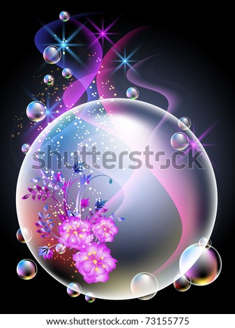 Glowing background with sphere, flowers, smoke, stars and bubbles. Raster version of vector.