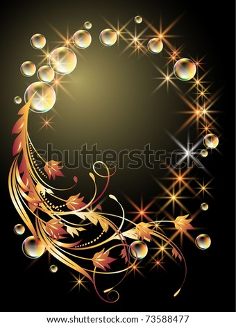 Glowing background with sphere, golden ornament, stars and bubbles. Raster version