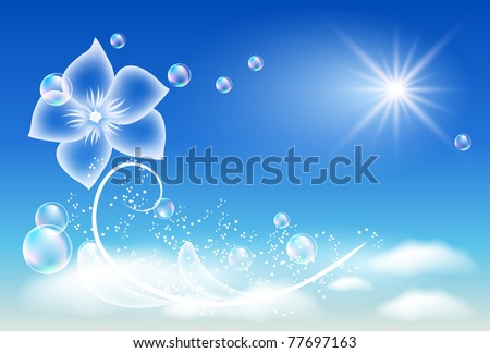 Glowing background with transparent flower. Raster version of vector.