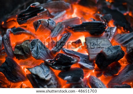 glowing bbq coal