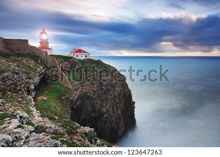 Glowing beacon at Cape Sea. Portugal.