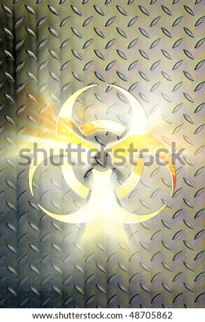 Glowing biohazard symbol over steel background Conceptual photo-illustration