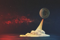 Glowing bitcoin flying like a rocket against a red open space background. Concept of mining. Mock up toned image Elements of this image furnished by NASA