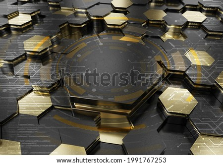 Glowing black and gold hexagons podium background pattern. Hexagonal metal surface with lights and reflections. 3D rendering