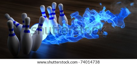 glowing blue light bowling ball knocks down skittles. 3d illustration.