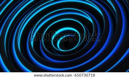 Stock Photo Glowing blue spiral shape. Computer generated abstract 3D render