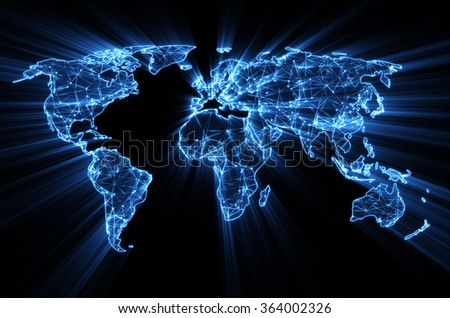 glowing blue worldwide web on world map concept