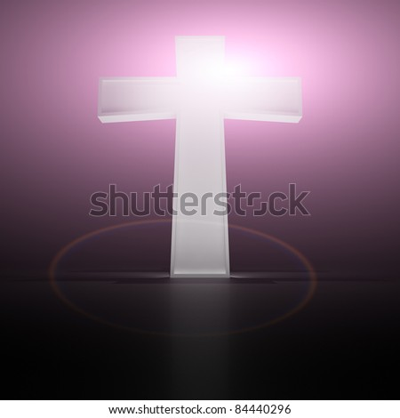 Glowing christian cross on the purple background