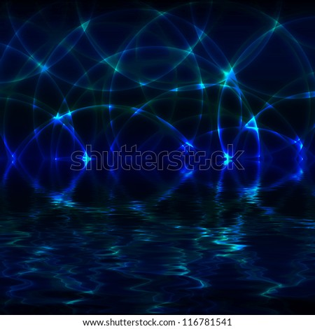 Glowing circles on blue grunge background