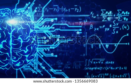 Glowing circuit brain on blurry mathematical formulas background. AI and math concept. 3D Rendering