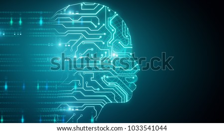 Glowing circuit head on blue background. 3D Rendering