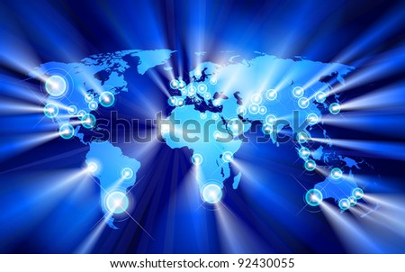 Glowing Cities Around World, raster - stock photo
