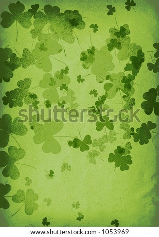 glowing clover leaves with recycled paper texture - stock photo