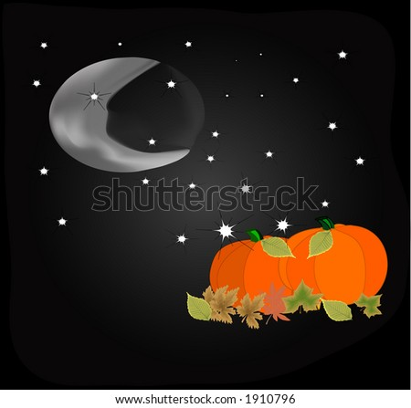 Glowing cresent moon shining down on pumpkins